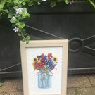 Wild flowers embroidered picture