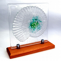 Fused Glass Sculpture Ammonite Fossil Clear with Green Accents on Hardwood Stand
