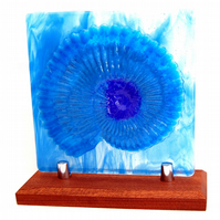 Fused Glass Sculpture Ammonite Fossil Blue Hues on Hardwood Stand