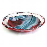 Fused Glass Fire and Ice Lipped Bowl Dish 9 Inch