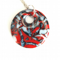 Fused Glass Fire and Ice Circular Round Pendant On Chain