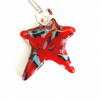 Fused Glass Fire and Ice Star Shape Pendant On Chain