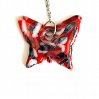 Fused Glass Fire and Ice Butterfly Pendant On Chain