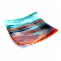 Fused Glass Earth Tones Shallow Square Shaped Bowl Dish 6 Inch