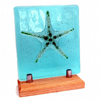 Fused Glass Relief Sculpture Aqua and Green Starfish on a Ash Hardwood Stand