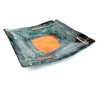 Studio Pottery Ceramic Square Dish Orange Centre 7.25 Inches Square