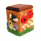 Studio Pottery Ceramic Box With Hardwood Lid Relief Carved Very Busy Bees Summer