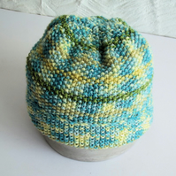 Hand knitted Babies Hat, Age 1, Aqua, Yellow and Green