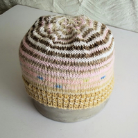 Hand knitted Babies Hat, Age 1, Beige, Brown and Pink
