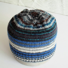 Hand knitted Babies Hat, Age 1, Black, Grey and Multi
