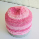 Hand knitted Babies Hat, Age 1, Shades of Pink