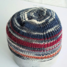 Hand knitted Babies Hat, Age 1, Navy, Grey and Multi