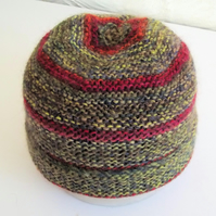 Hand knitted Babies Hat, Age 1, Green and Burgundy