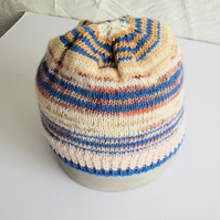 Hand knitted Babies Hat, Age 1, Blue, Peach and Cream