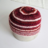 Hand knitted Babies Hat, Age 1, Burgundy and Pink