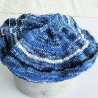 Hand knitted Babies Beret Hat, Age 1, Shades of Blue and White