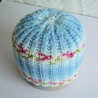 Hand knitted Babies Hat, Age 1, Blue, White and Green