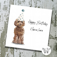 Personalised Birthday Card - Canine Capers - Brown Cockapoo with party hat