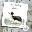 Personalised Birthday Card - Canine Capers - Border Collie with butterfly