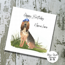 Personalised Birthday Card - Canine Capers - Bloodhound in Blue Cap