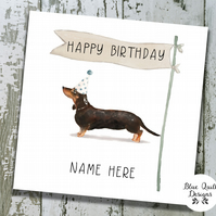 Personalised Birthday Card - Canine Capers - Black & Tan Dachshund