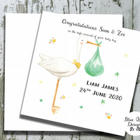 Personalised New Baby Card - Girl or Boy - Watercolour Print - Stork