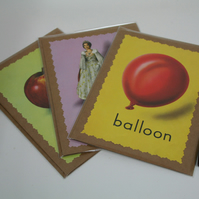 A set of three Ladybird cards