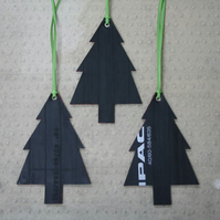 Recycled bicycle inner tube Christmas trees