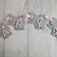 Elephant bunting personalised with name - free postage!