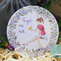 Forget Me Not Handmade Pocket Mirror
