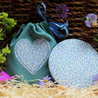 Cotton Covered Mirror with Matching Duck Egg Blue Pouch