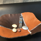 Hand Stitched Leather Valet Tray, Leather Desk Tidy