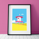 Beach lifeguard tower poster print