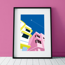 Art deco buildings poster print