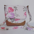 Vintage rose messenger bag, canvas floral bag, vegan leather, faux leather