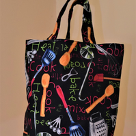 Tote Bag - Fully Lined - Kitchen Utensil Design