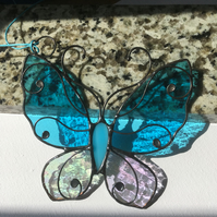 Stained Glass Butterfly, Tiffany, Blue Glass