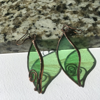 Green Leaf Stained Glass Earrings