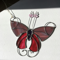 Pink Lavender Tiffany Stained Glass Butterfly