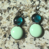 Aquamarine & Green Stained glass earrings