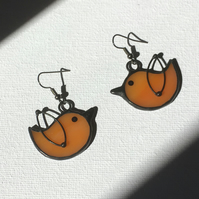 A Couple of Birds Stained Glass Earrings