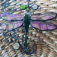 Stained glass Iridescent Dragonfly