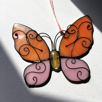 Stained Glass Butterfly, Tiffany, Orange & Pink Glass