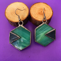 Turquoise hexagonal stained glass earrings