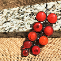 Red currants Tiffany Stained Glass Brooch