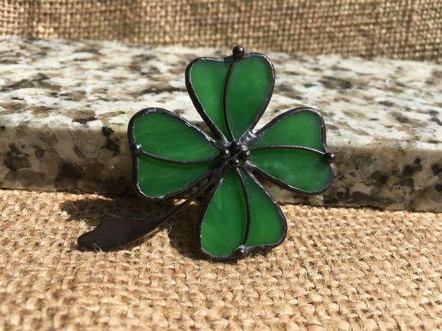 Shamrock Tiffany Stained Glass Brooch