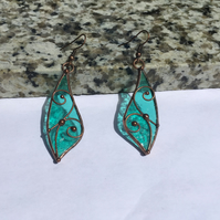 Turquoise Leaf Stained Glass Earrings