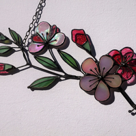 Japanese Cherry (Sakura) Blossom Stained Glass Suncatcher