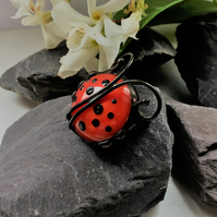 Ladybird Tiffany Stained Glass Brooch
