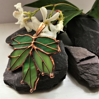 Green Maple Leaf Stained Glass Brooch